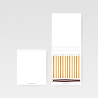 Book of matches vector. widok z góry zamknięty otwarty pusty. illustratrion pień wektor.