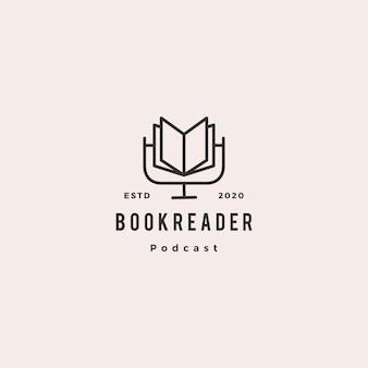 Book podcast logo hipster retro vintage icon for book blog video video review channel