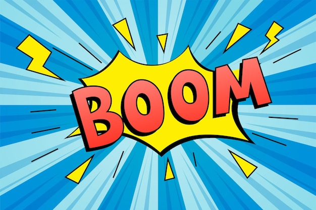 Boom do liter. efekty dźwiękowe tekstu komiksowego.