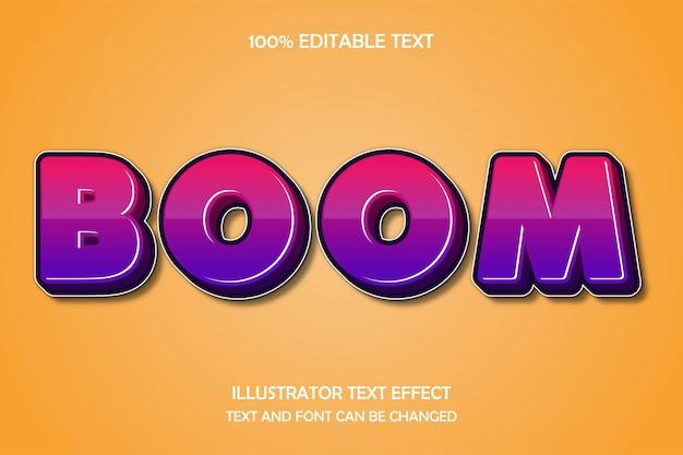Boom, edytowalny tekst 3d efekt nowoczesnego stylu cienia