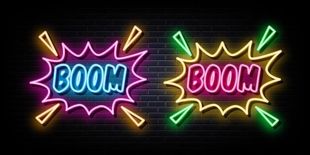 Boom plakat neonowe znaki wektor szablon projektu neon style