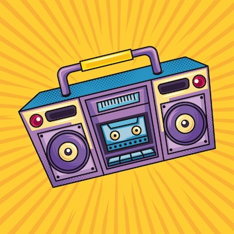 Boombox audio w stylu retro