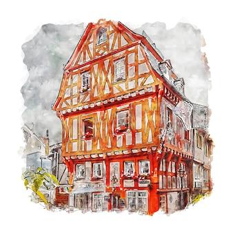 Boppard rheinland niemcy szkic akwarela ręcznie rysowane ilustracji