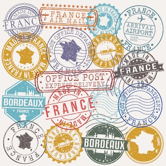 Bordeaux france zestaw pieczątek podróży i firmy