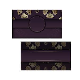 Bordowa wizytówka z luksusowym złotym wzorem dla twojej firmy.