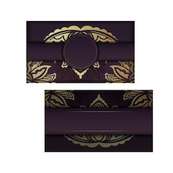 Bordowa wizytówka z luksusowym złotym wzorem dla twojej osobowości.