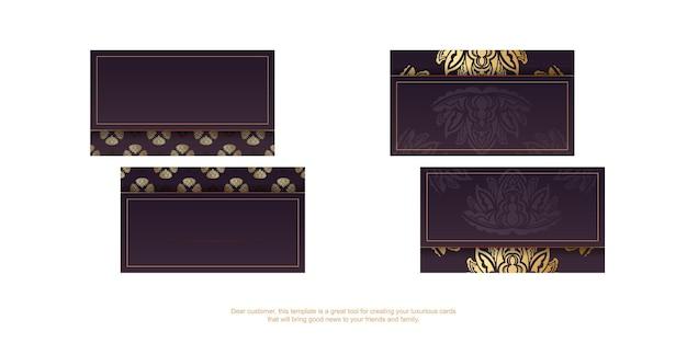Bordowa wizytówka z rocznika złotym wzorem dla twojej firmy.