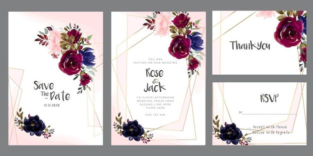 Bordowy i różowa akwarela kwiatowy zaproszenie na ślub