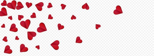 Bordowy kolor papercut wektor przezroczysty panoramiczny tło. pocztówka wizualna konfetti. tapeta red falling heart.