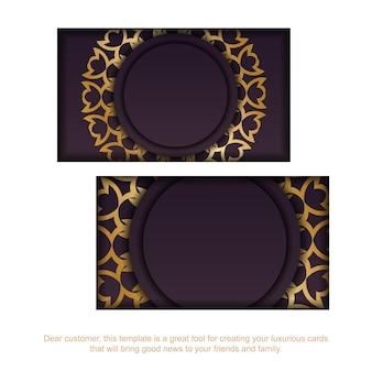 Bordowy szablon wizytówki z luksusowym złotym wzorem dla twojej osobowości.