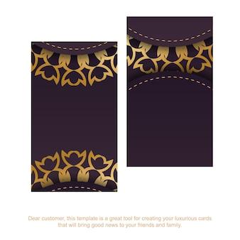 Bordowy szablon wizytówki z luksusowymi złotymi ozdobami dla twojej marki.