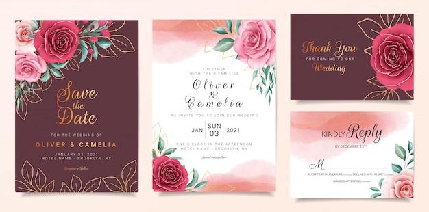 Bordowy szablon zaproszenia ślubne zestaw z kwiatami granicy i złota ozdoba.