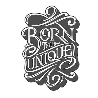Born by być unikalną typografią na na białym tle w stylu retro