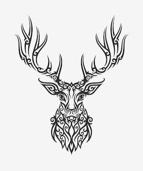 Borneo kalimantan dayak ornament deer ilustracja