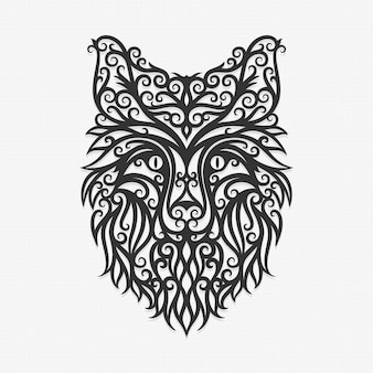 Borneo Kalimantan Dayak Ornament Fox Ilustracja Premium Wektorów