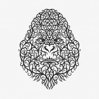 Borneo kalimantan dayak ornament ilustracja goryl