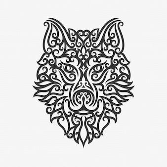 Borneo kalimantan dayak ornament wolf ilustracja