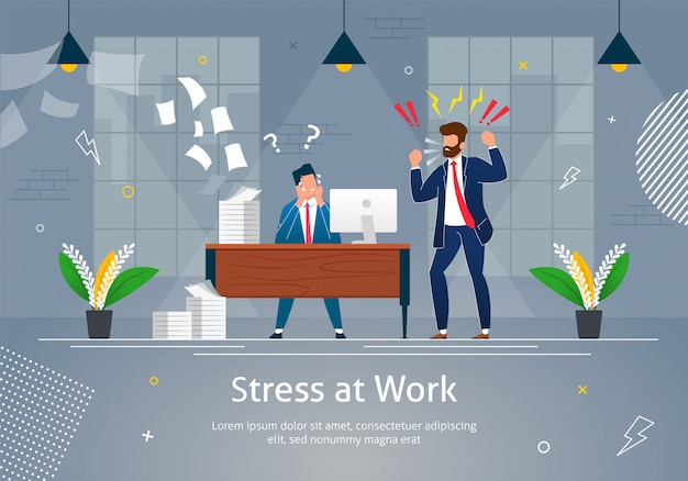 Boss man character screaming on stressed worker.