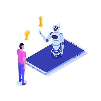 Bot czatu, izometryczny sztucznej inteligencji. koncepcja biznesowa ai i iot.
