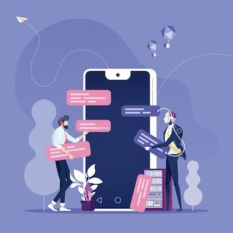 Bot na czacie. biznesmen na czacie z botem czatu na smartfonie