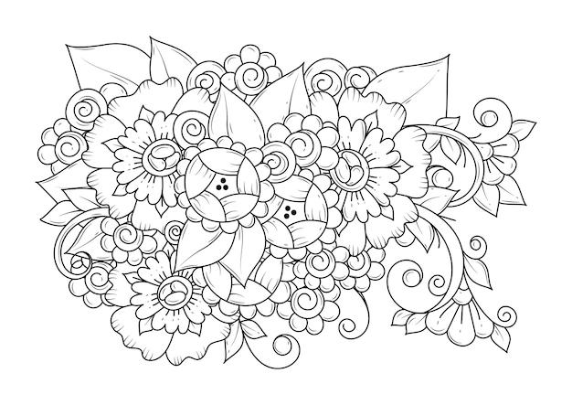Botaniczna strona do kolorowania dla dzieci i dorosłych. linia sztuki. czarno-białe tło do kolorowania.