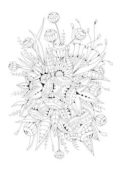 Botaniczna strona do kolorowania z kwiatami fantasy w grafikach