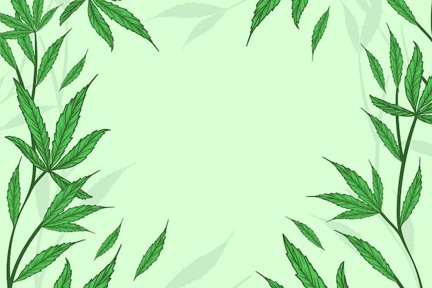 Botaniczna tapeta z liśćmi konopi
