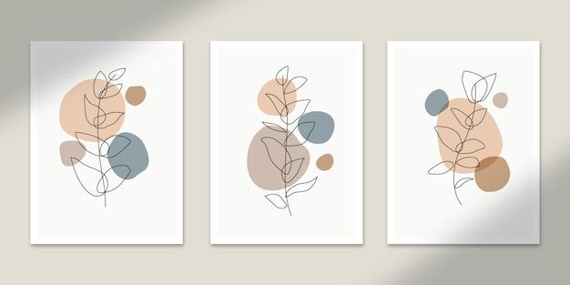 Botaniczne abstrakcyjne plakaty sztuka ręcznie rysowane kształty okładki zestaw kolekcja na dekoracje ścienne