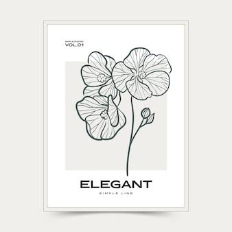Botaniczne abstrakcyjne sztuki ścienne. kolekcja plakatów kwiatowy wektor.