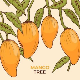 Botaniczne drzewo mango z liśćmi