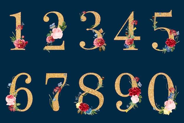 Botaniczne liczby z tropikalnymi kwiatami ilustracyjnymi