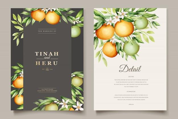 Botaniczny akwarela pomarańczowy owoce wesele szablon karty zaproszenia