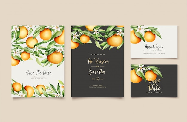 Botaniczny akwarela pomarańczowy owoce wesele szablon zaproszenia karty