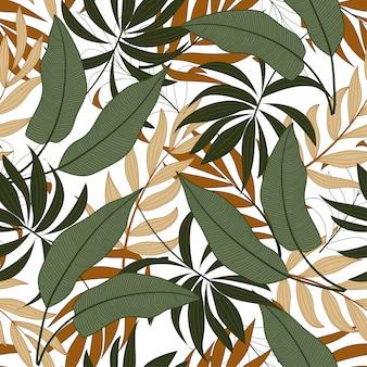 Botaniczny bezszwowy tropikalny wzór z jaskrawo zielonymi i żółtymi roślinami i liśćmi
