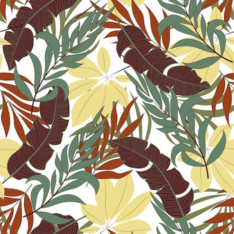 Botaniczny bezszwowy tropikalny wzór z jaskrawymi czerwonymi i zielonymi roślinami i liśćmi