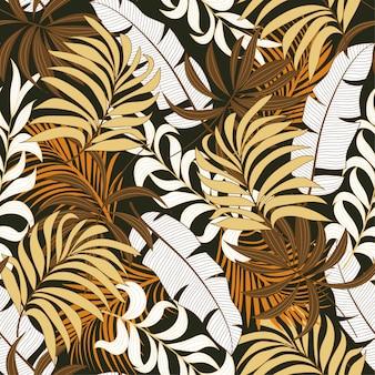Botaniczny bezszwowy tropikalny wzór z jaskrawymi czerwonymi i żółtymi roślinami i liśćmi