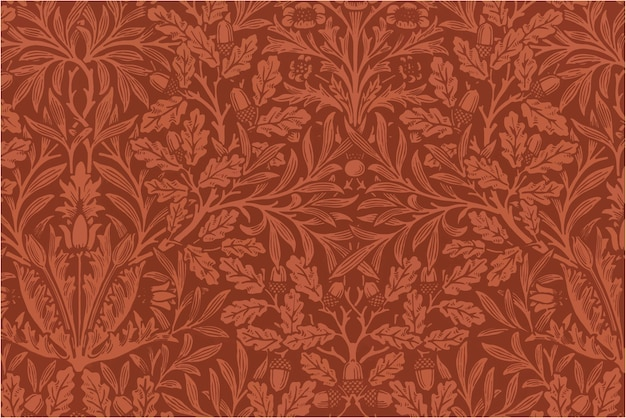 Botaniczny czerwony wzór tła stylu vintage