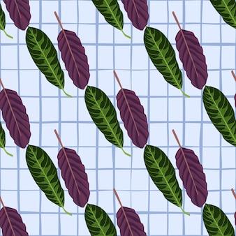 Botaniczny jasny wzór z ręcznie rysowane sylwetki liści fioletowe i zielone.
