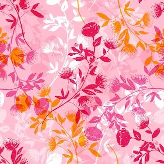 Botaniczny kwiatowy cień bez szwu wzór
