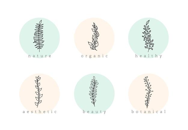 Botaniczny minimalistyczny ręcznie rysowane kwiatowy logo elementy wektor zestaw. naturalne zbiory oddziałów z tłem koło, ikona podświetlenia historii szablonu dla kosmetyków, mody, jogi.