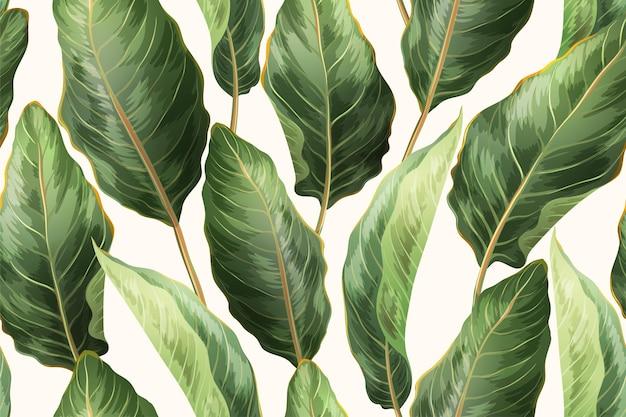 Botaniczny nadruk z egzotycznymi liśćmi