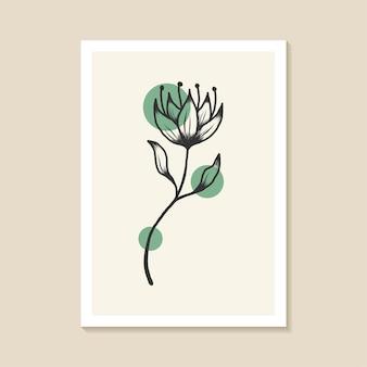 Botaniczny projekt ścienny o eleganckim abstrakcyjnym kształcie