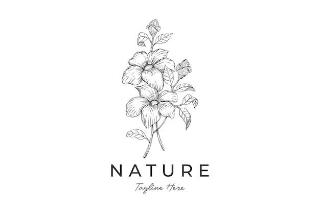 Botaniczny ręcznie rysowane szablon logo vintage