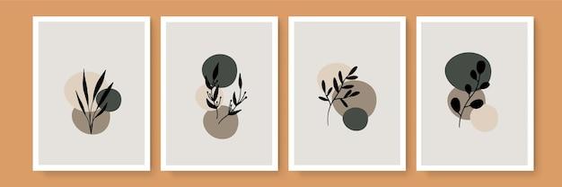 Botaniczny ściana sztuka wektor zestaw. ton ziemi tło liści grafika liniowa rysunek z abstrakcyjnym kształtem i akwarelą. projekt dla odbitek ściennych, wydruków na płótnie, plakatu, wystroju domu, okładki, tapety
