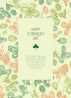 Botaniczny świąteczny plakat st patricks day z tekstem w prostokątnej ramce i szkicem irlandzkiej koniczyny