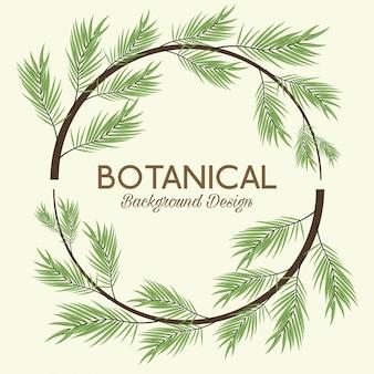 Botaniczny tło z liści wieniec