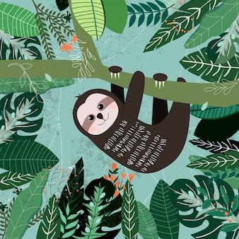 Botaniczny tropikalny zielony urlop wzór, ogrodowy pojęcie