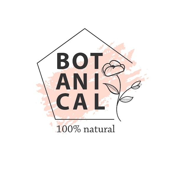 Botaniczny wektor zarys logo w zestawie