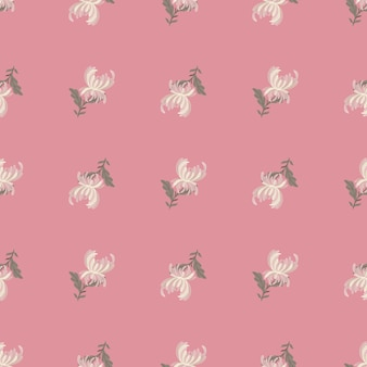Botaniczny wzór z białymi kwiatami chryzantemy. różowy pastelowe tło. nadruk natury. płaski nadruk wektorowy na tekstylia, tkaniny, opakowania na prezenty, tapety. niekończąca się ilustracja.