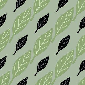 Botaniczny wzór z czarno-zielonymi prostymi elementami liści